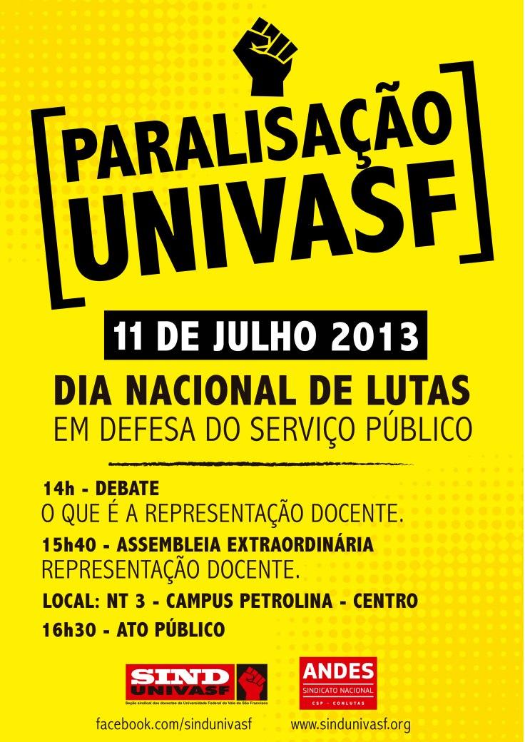 cartaz peça paralisação univasf 11 jul