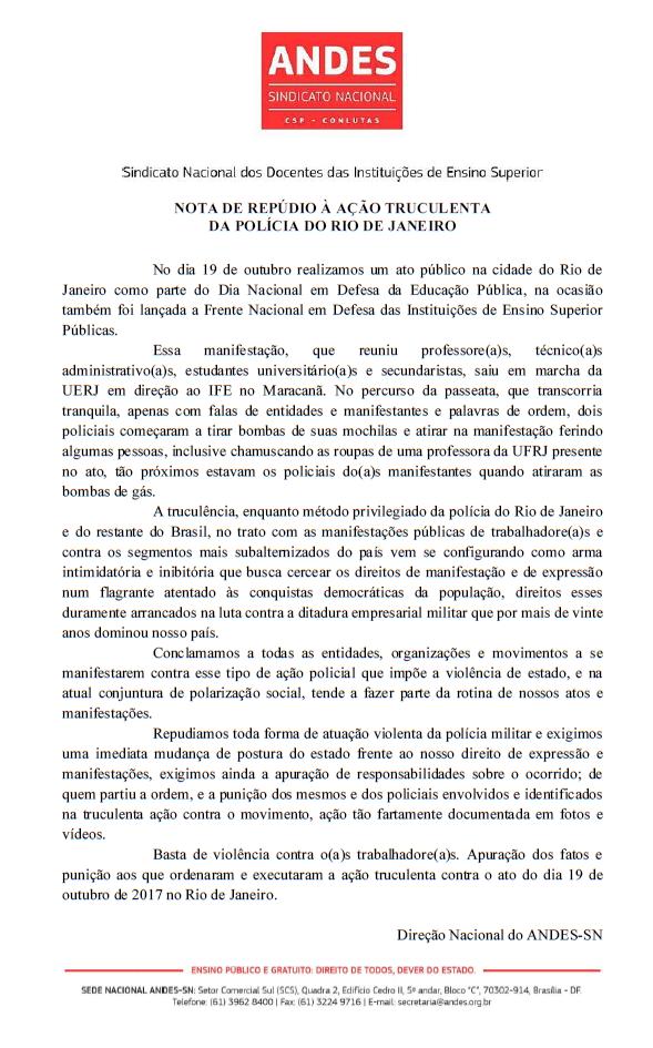 Nota Repúdio Brutalidade PM Rio - IES