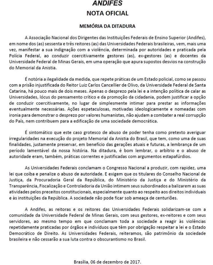 Nota Andifes Memória da Ditadura