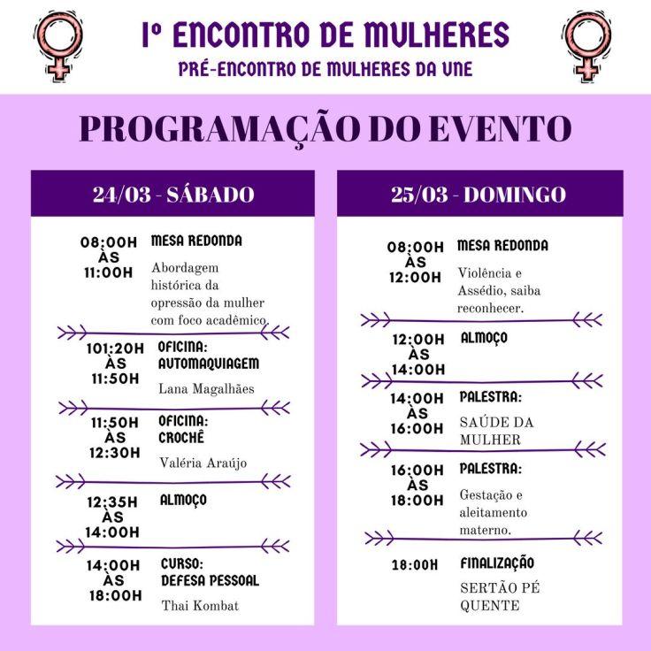 1º Encontro de Mulheres - DCE (programação)
