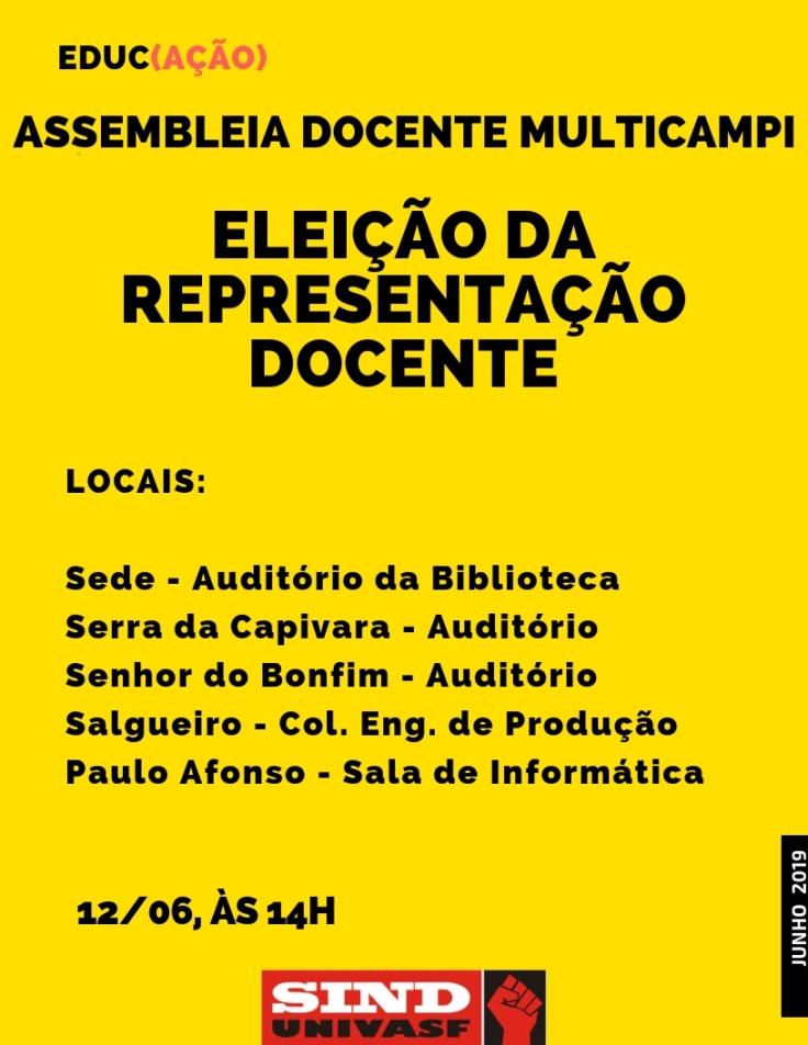 Eleição da representação docente - 12-06-2019