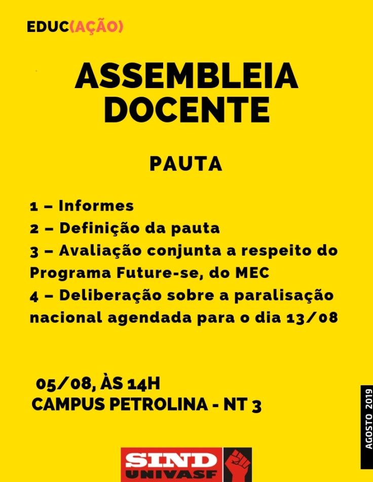 Assembleia docente 05-08-2019