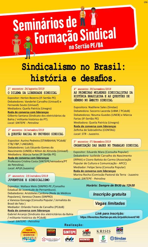 Cartaz Seminários de Formação Sindical no Sertão PE-BA